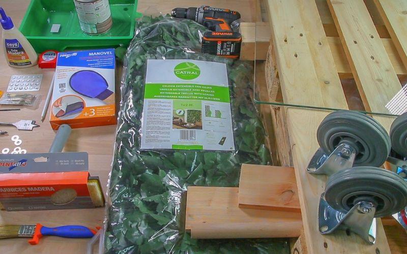 Herramientas y materiales para hacer la mesa de centro