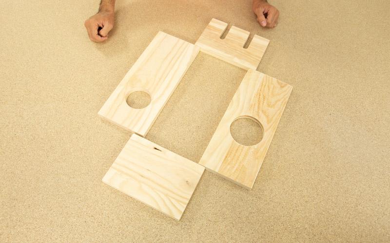 Piezas completas para hacer la caja de vino de madera