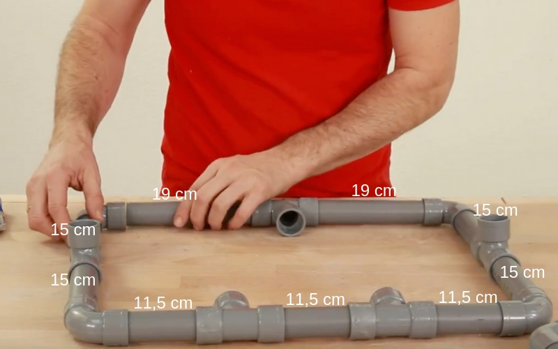 Medidas de la mesa con tuberías