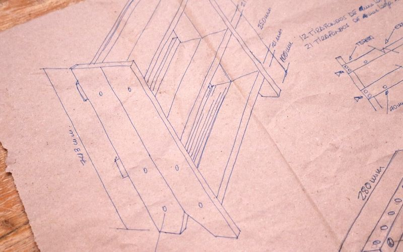 Dibujo técnico del mueble organizador multiusos