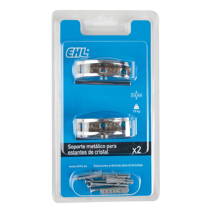 Soporte metálicos EHL estante cristal redondeado