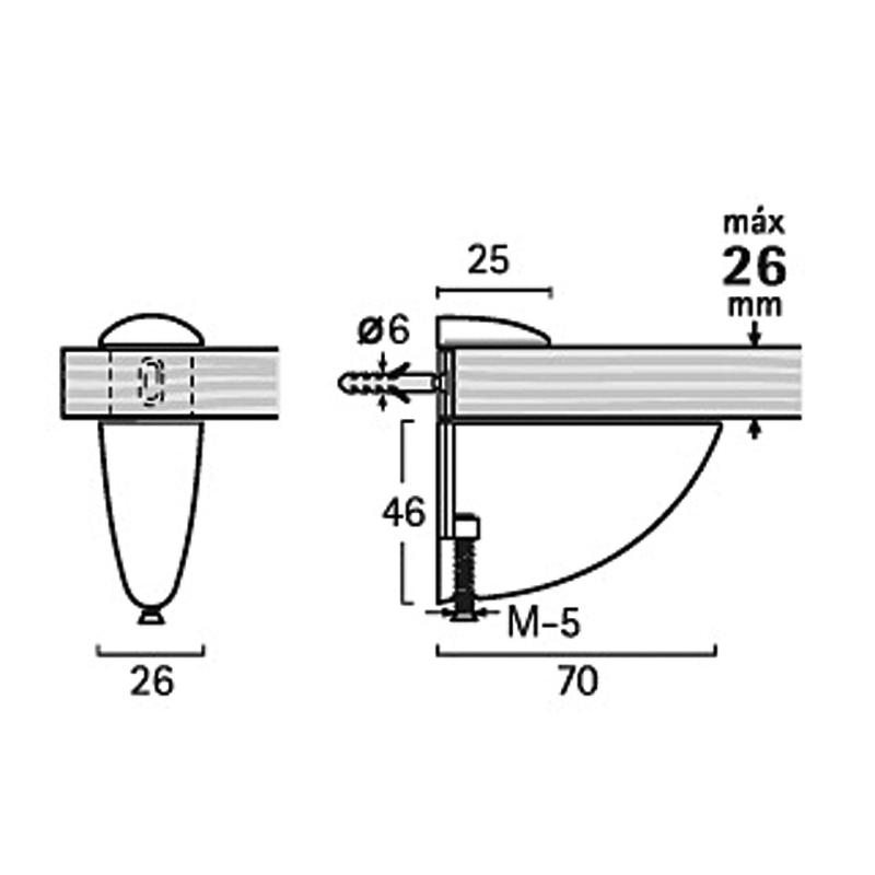 Soporte metálico EHL regulable 3-26mm