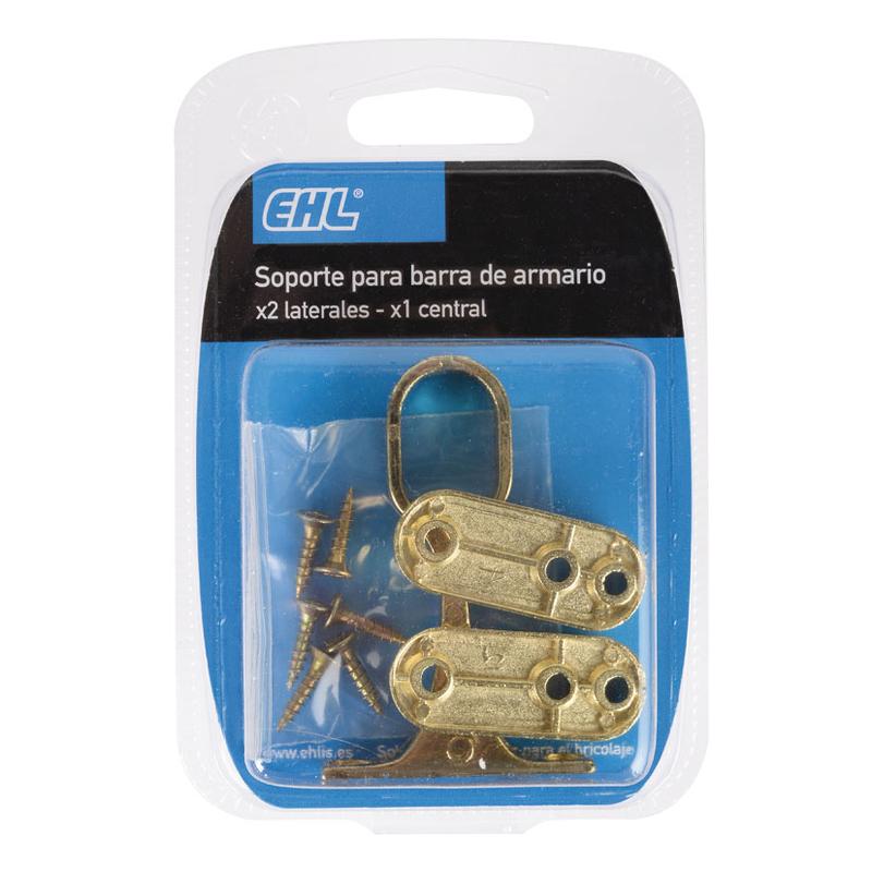 Soporte barra armario EHL 2 lateral + 1 central latonado