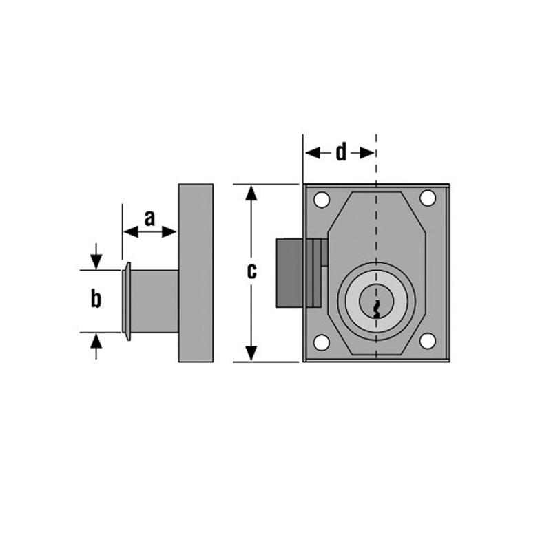 Cerradura sobreponer muebles URKO mod. 23R 37mm