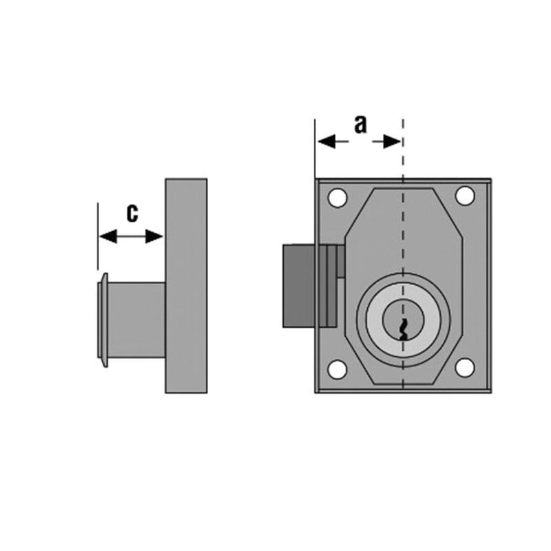 Cerradura sobreponer muebles URKO modelo 23R 25mm