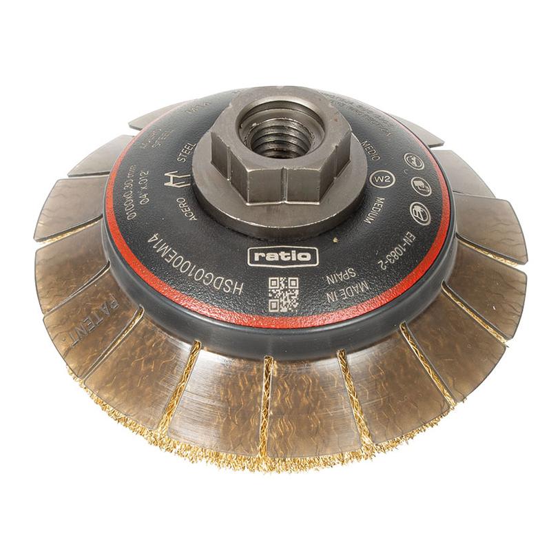 Cepillo abrasivo taza cónico con guarda protectora RATIO ø 100 mm ProSerie 1622