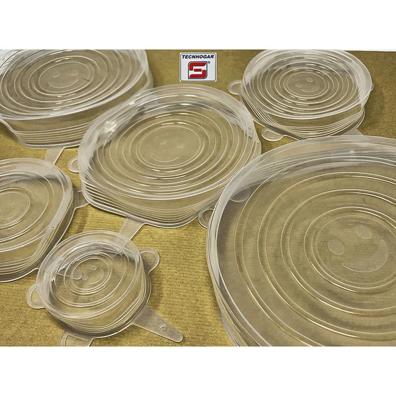 Juego 6 tapas silicona TECHNOGAR elásticas
