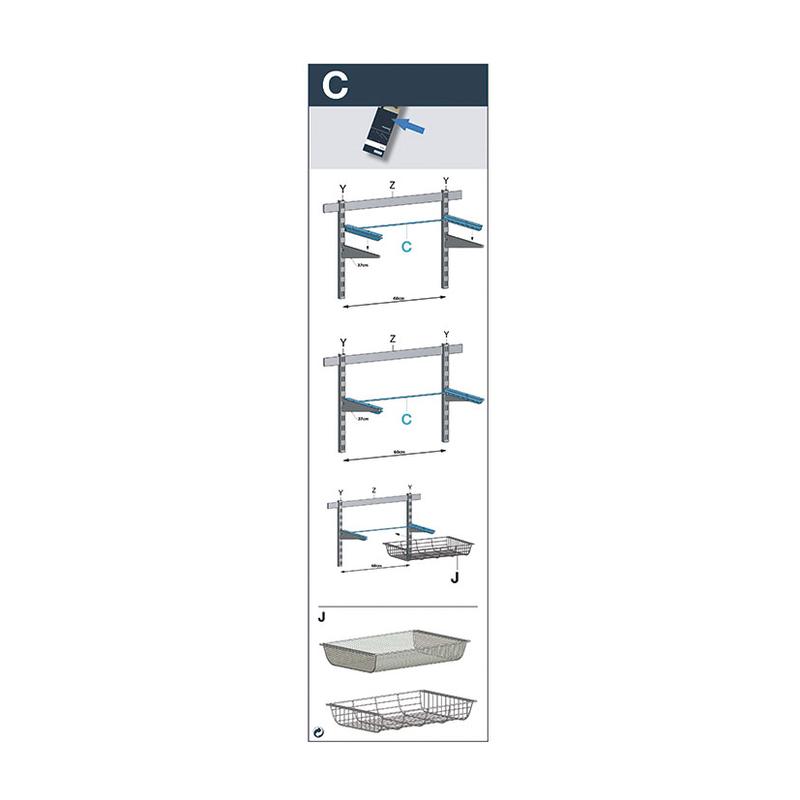 Marco para fijar cesta estantería metálica DURALINE sistema Basic