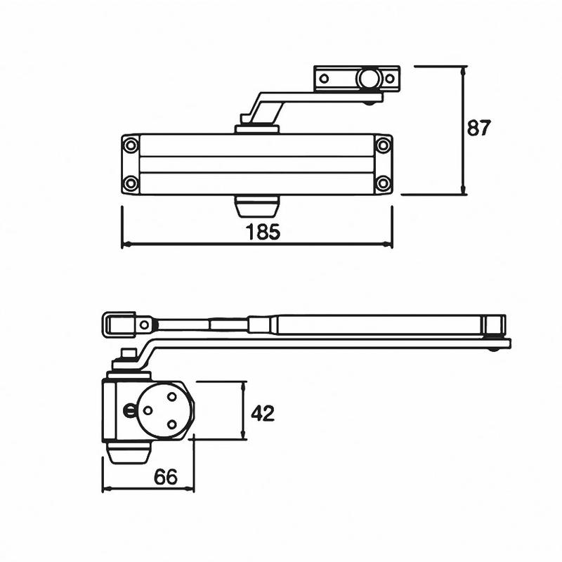 Cierrapuertas hidráulico JUSTOR CH 2-3 sin retenedor