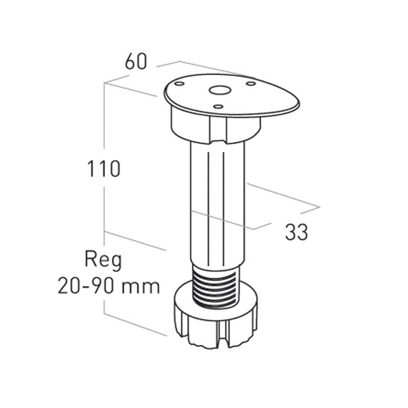 Kit 4 patas mueble cocina NESU 20-90mm
