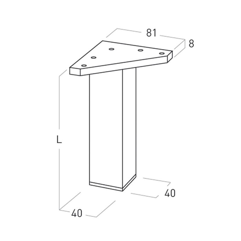 Pata mueble NESU aluminio mate cuadrada serie 5001