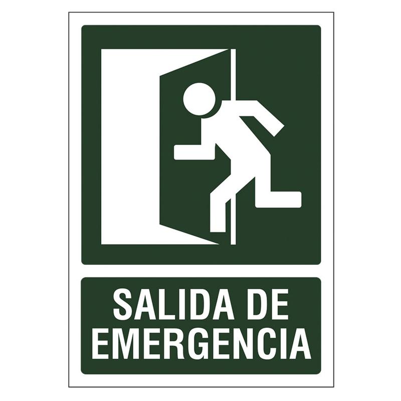 """Señal de vías de seguridad y salvamento """"Salida emergencia"""" 210xh.297 mm"""