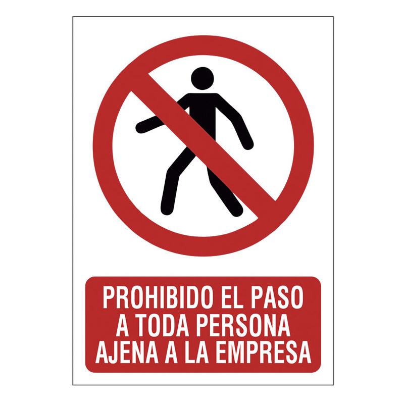 """Señal de prohibición """"Prohibido el paso empresa"""""""