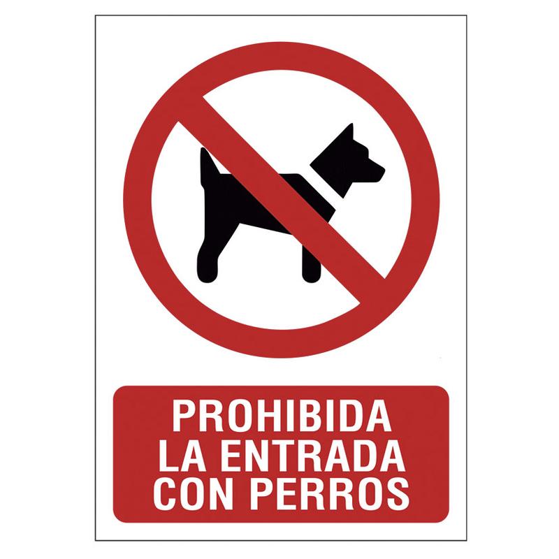 """Señal de prohibición """"Prohibido perros"""""""