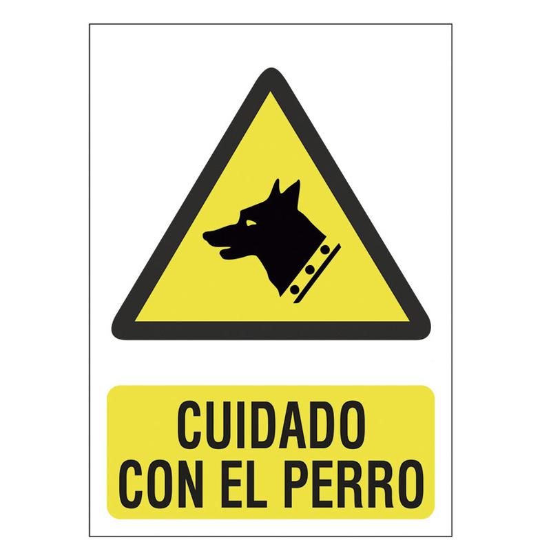 """Señal de peligro """"Cuidado con el perro"""""""