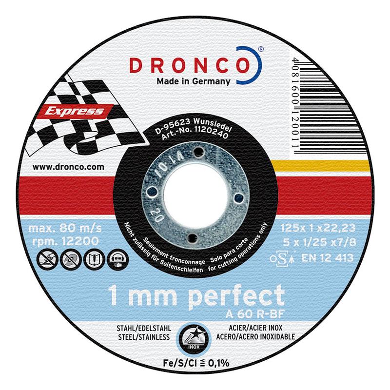Disco de corte inox/metal DRONCO Perfect Express. 25 unidades