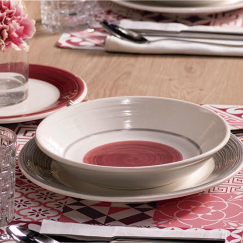 Vajilla porcelana 18 piezas Virginia Marsala
