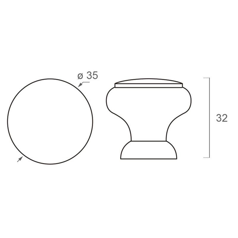 Croquis - Pomo NESU roble natural modelo 403 35 mm