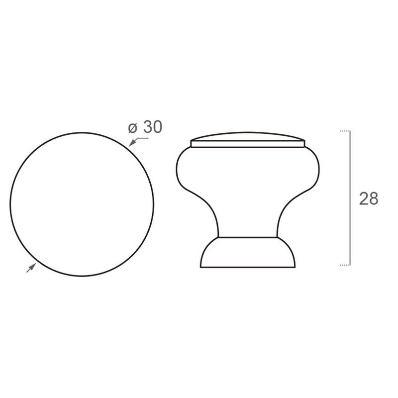 Croquis - Pomo NESU haya natural modelo 403 30 mm
