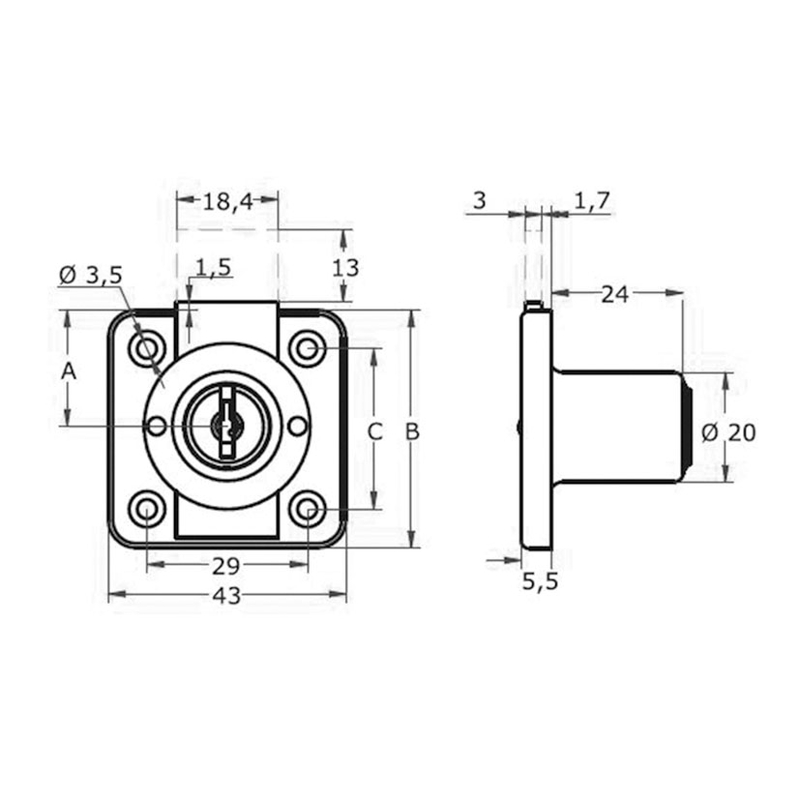 Cerradura de sobreponer AGA para cajón mod. 361 20mm