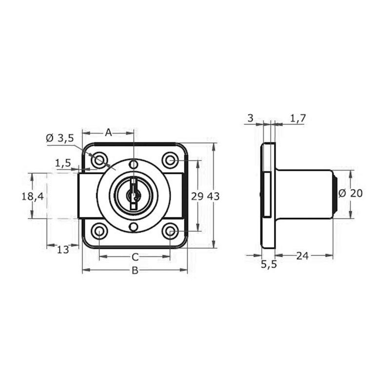 Cerradura de sobreponer AGA para armario mod. 362 25mm