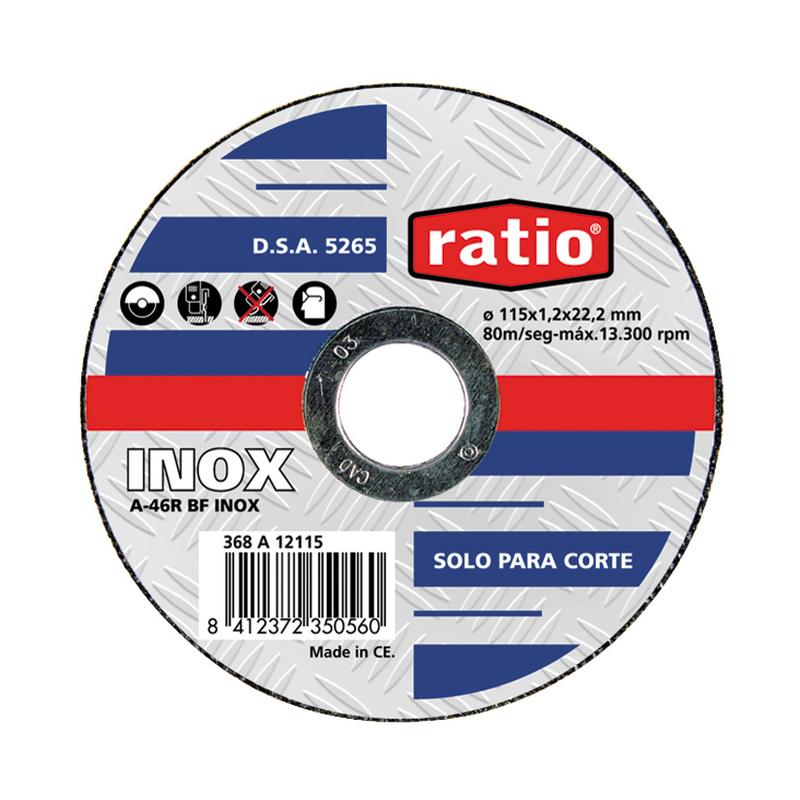Disco de corte inox/metal RATIO 178x1,6x22,2 mm. 5 unidades