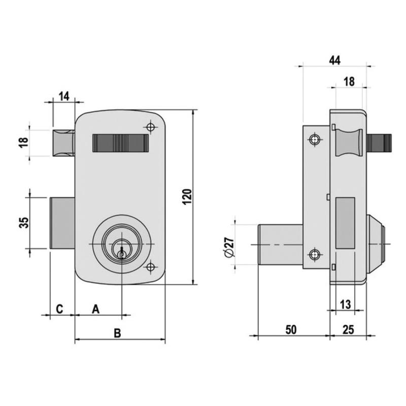 Cerradura sobreponer LINCE modelo 5056A 60 mm