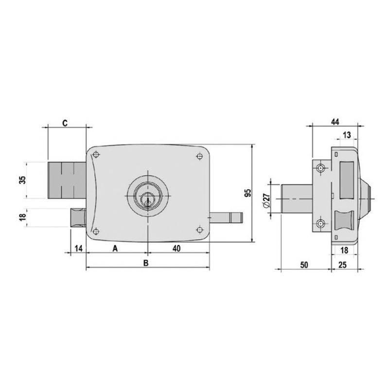 Cerradura sobreponer LINCE modelo 5125A 80 mm