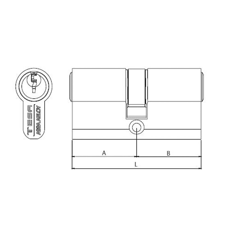 Cilindro sistema TESA TE-5 latonado 60 mm 30-30 mm
