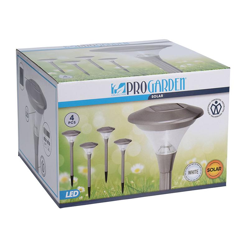 Lámpara solar inoxidable 47 cm. 4 unidades