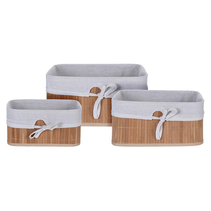 Set 3 cestas bambú