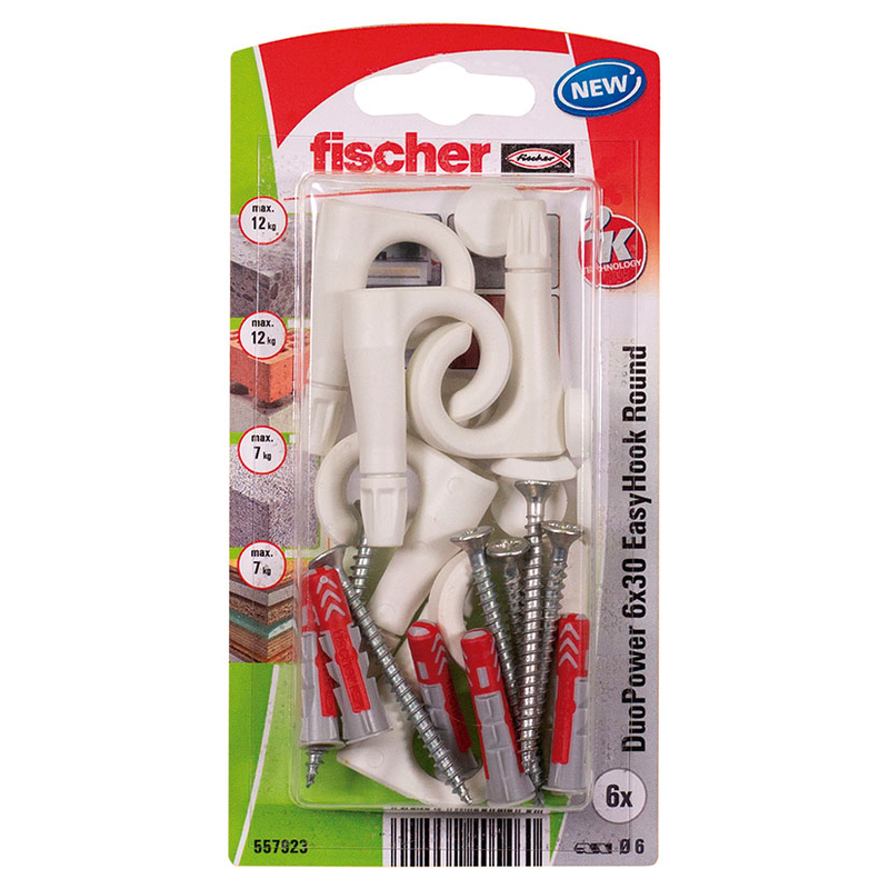 Hembrilla abierta con taco FISCHER Duopower Easyhook 6x30 mm