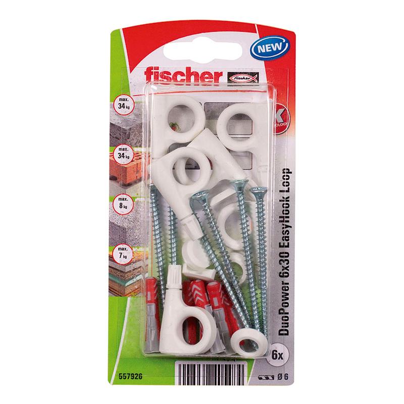 Hembrilla cerrada con taco FISCHER Duopower Easyhook 6x30 mm