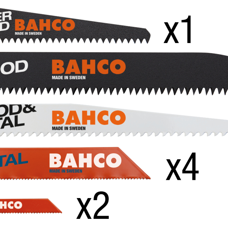 Juego 10 hojas BAHCO sierra metal+sierra madera
