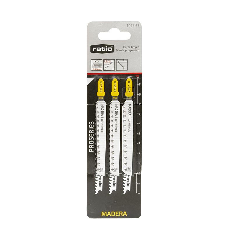 Set 3 sierras calar madera/plástico RATIO RT101B corte limpio anclaje tipo Bosch