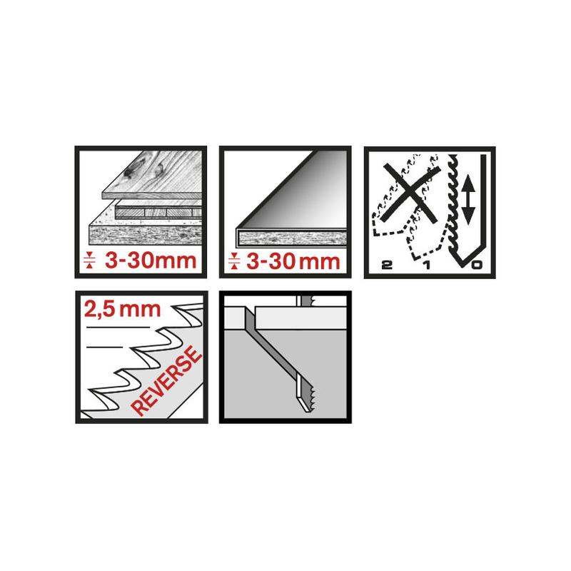 Set 3 sierras calar madera RATIO RT101BR corte limpio diente invertido anclaje tipo Bosch