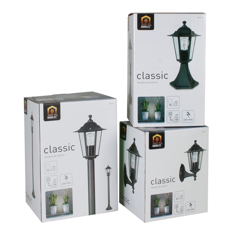Farola DUOLEC E27 60W negro Classic