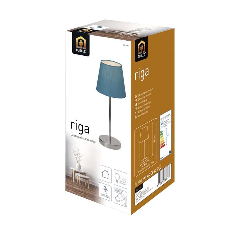 Lámpara sobremesa táctil DUOLEC Riga azul