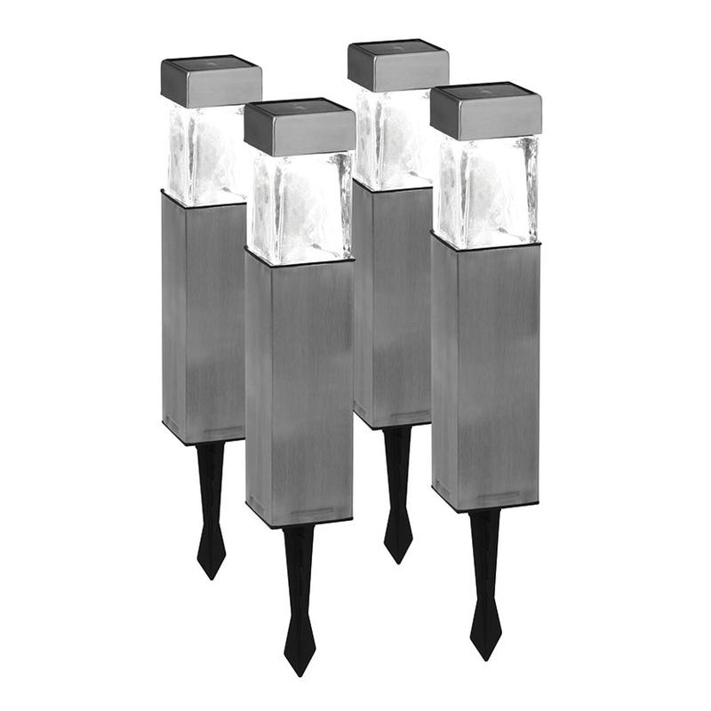 Juego de 4 lámparas solares metal/cristal DURACELL GL004NP4DU