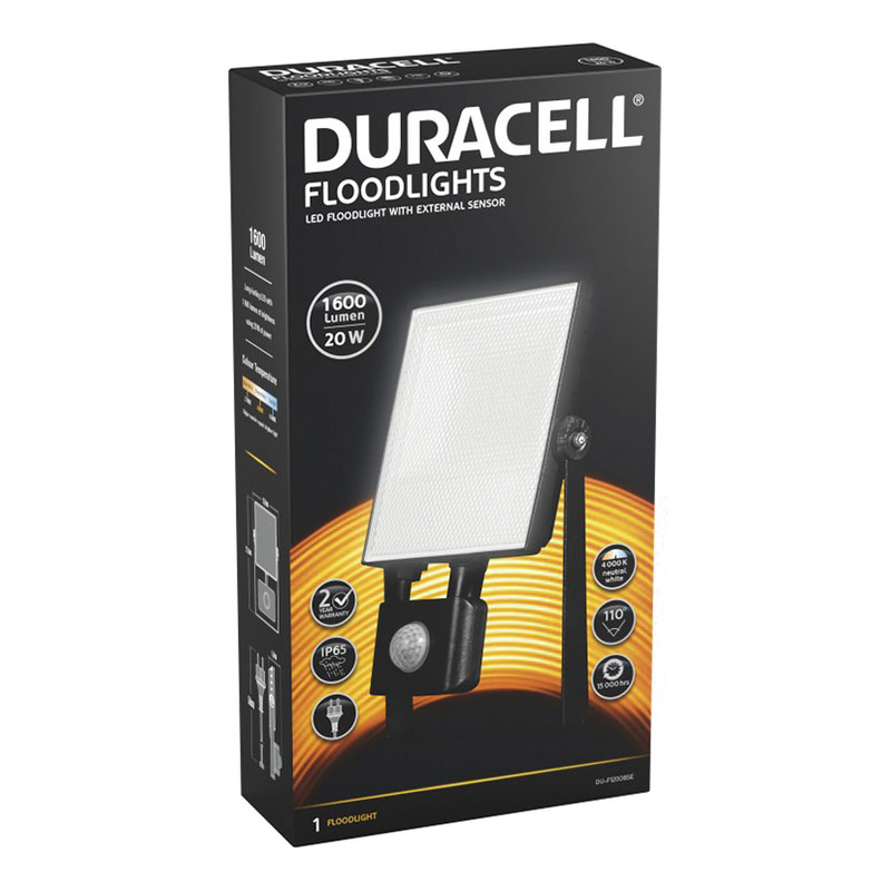 Foco proyector LED DURACELL 20W 1600 Lm sensor