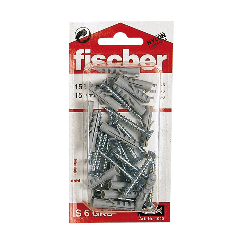 Taco plástico S FISCHER + tornillo