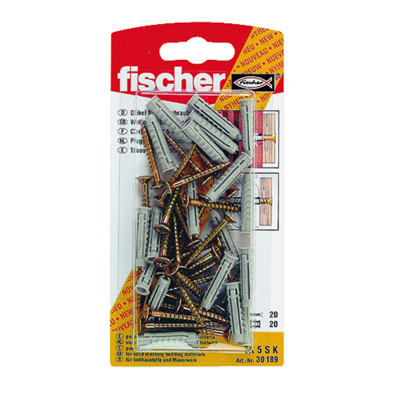 Taco plástico SX FISCHER + tornillo