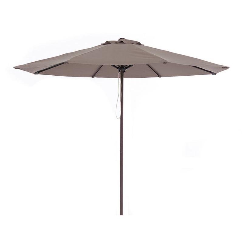 Parasol de aluminio imitación madera con toldo de 3 metros