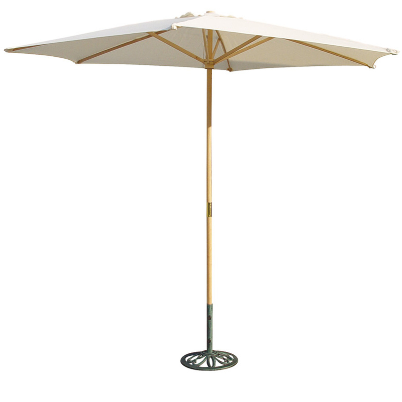 Parasol de madera natural con toldo de 3 metros