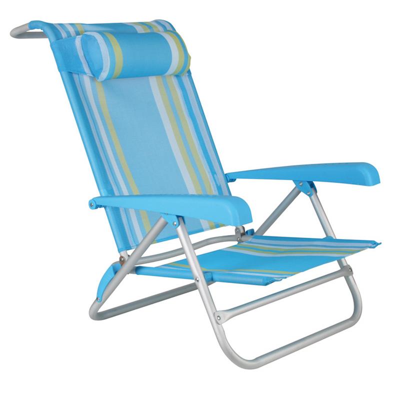 Juego de 4 tumbonas reclinables playa aluminio/textilene