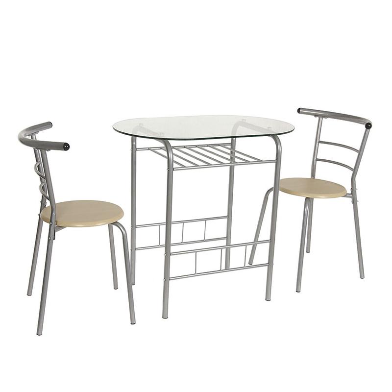 Set de cocina mesa cristal con 2 sillas | Cadena88