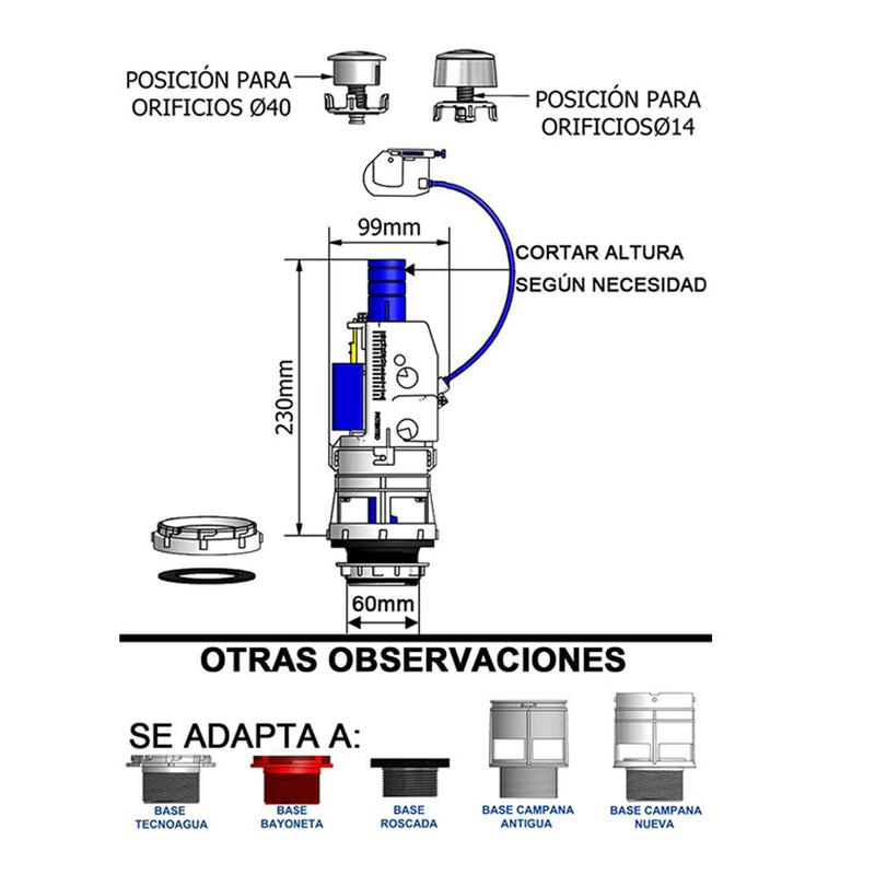 Descarga cisterna WC TECNOAGUA doble pulsador con cable transmisor