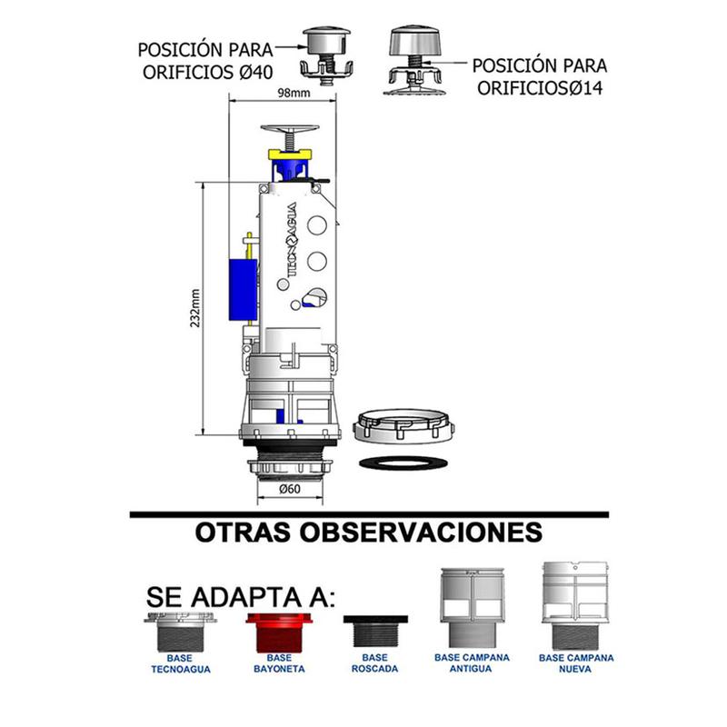 Descarga cisterna WC TECNOAGUA doble pulsador con transmisión directa