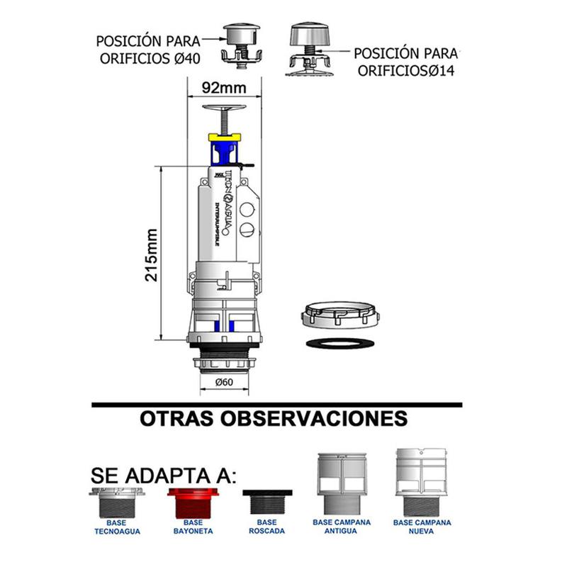 Descarga cisterna WC TECNOAGUA pulsador simple con transmisión directa