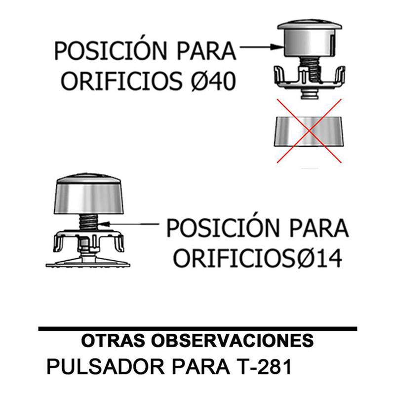 Recambio pulsador simple descarga cisterna WC TECNOAGUA mod.893F12